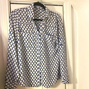 EXPRESS ladies button down shirt blue and white
